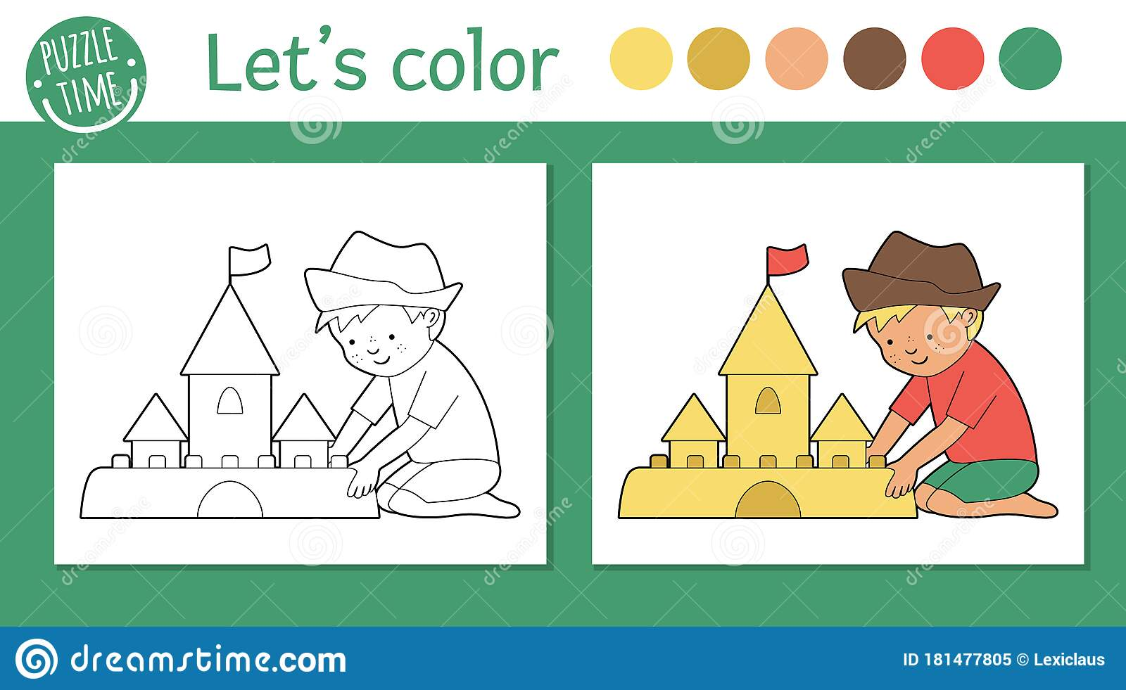 Summer Coloring Page For Children Cute Funny Kid Building