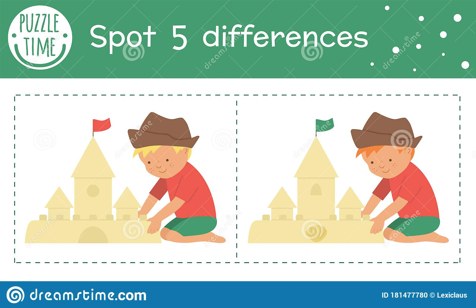 Summer Find Differences Game For Children Beach Holiday