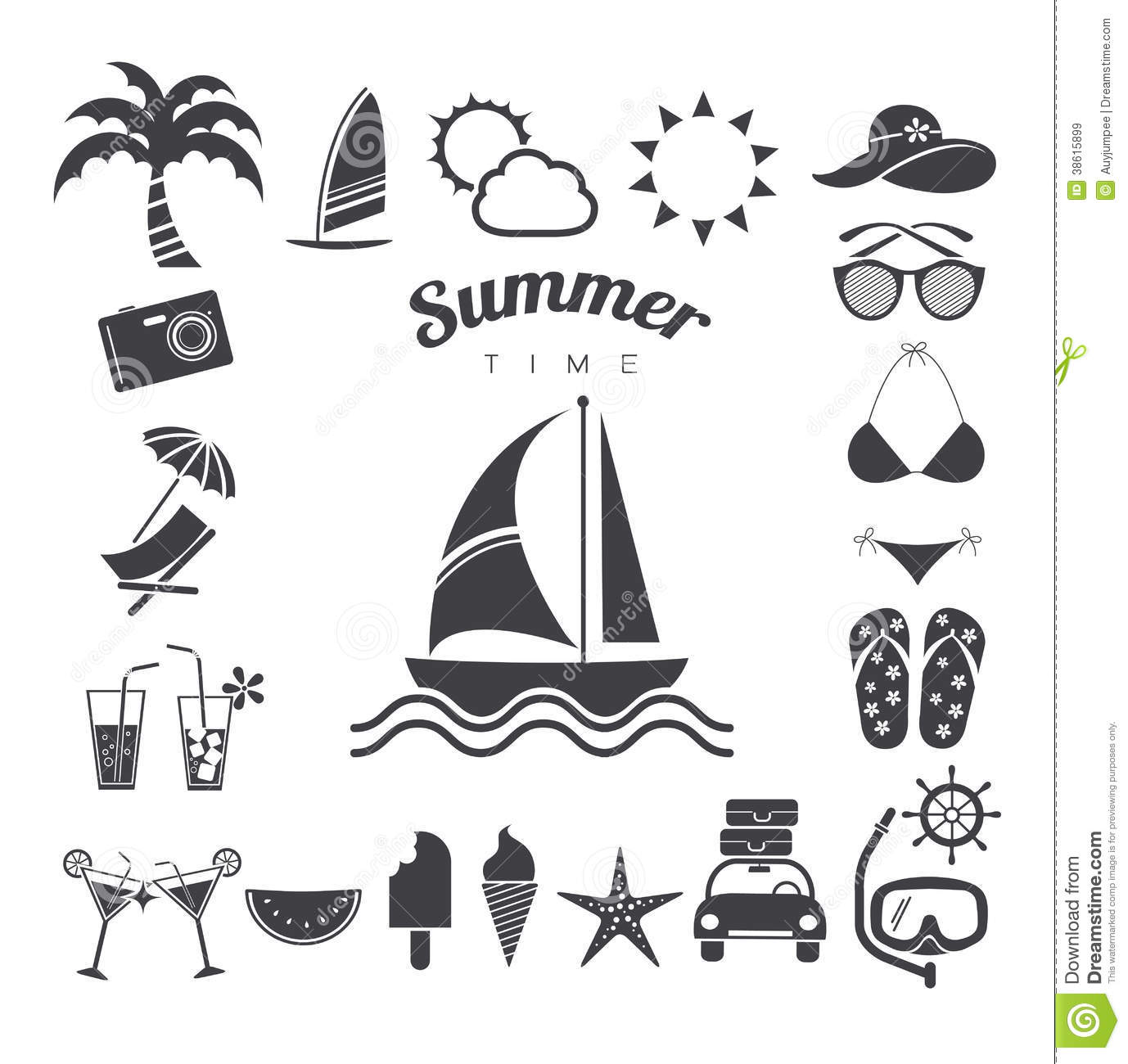 Summer Icons Set Vector Illustration Stock Vector