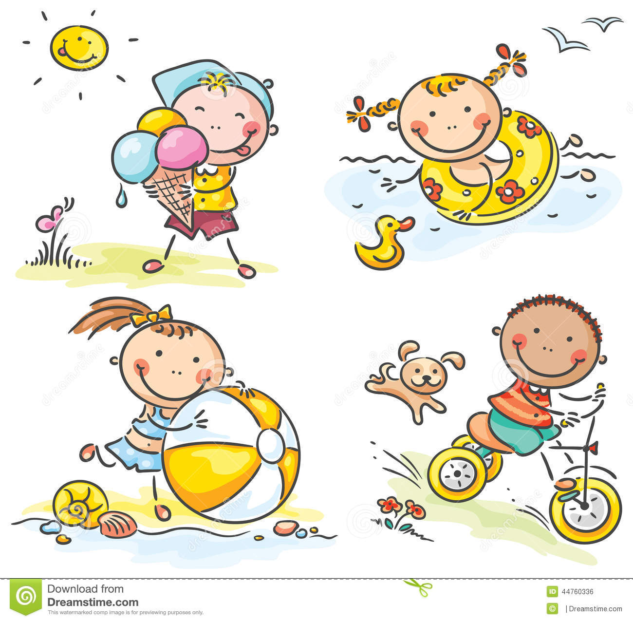 Summer Kids Activities Outdoors Stock Vector