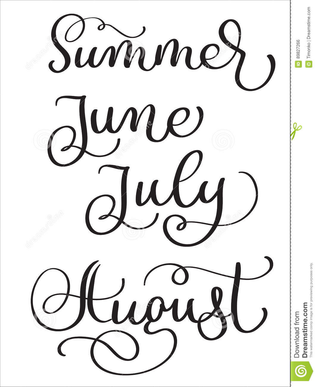 Summer Months June July August Words On White Background