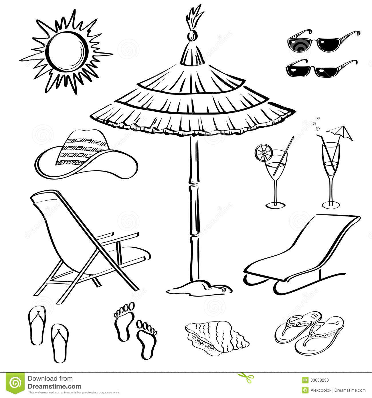 Summer Objects Outline Stock Photo