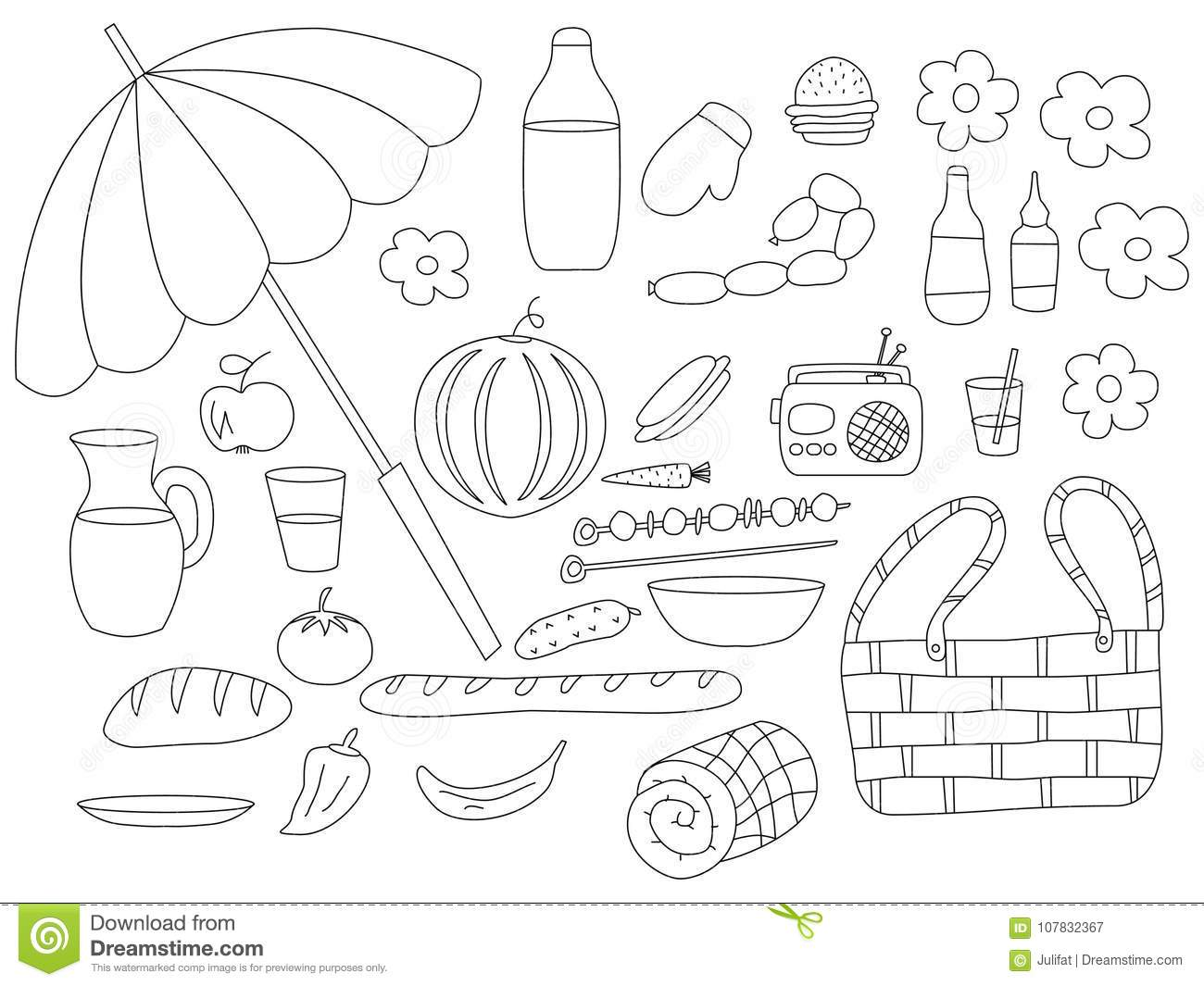 Set Food Isolated Objects Stock Vector
