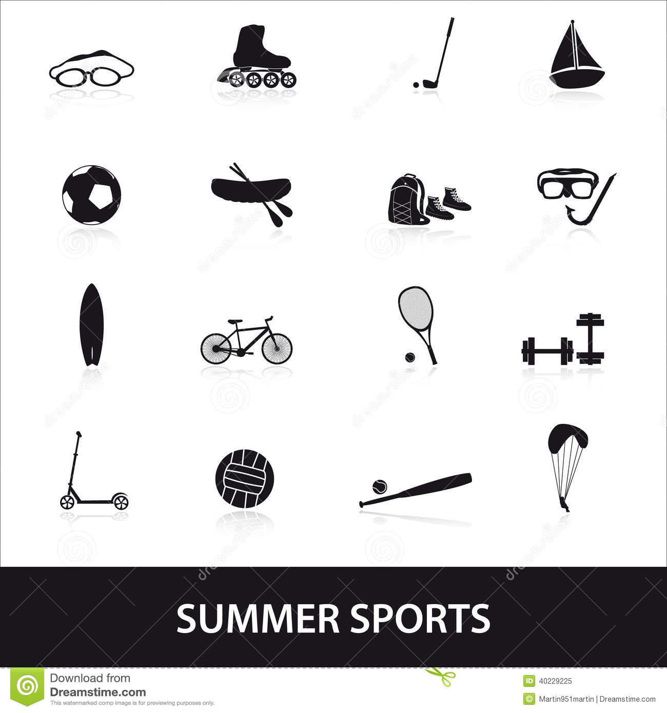 Summer Sports And Equipment Icon Set Eps10 Stock Vector