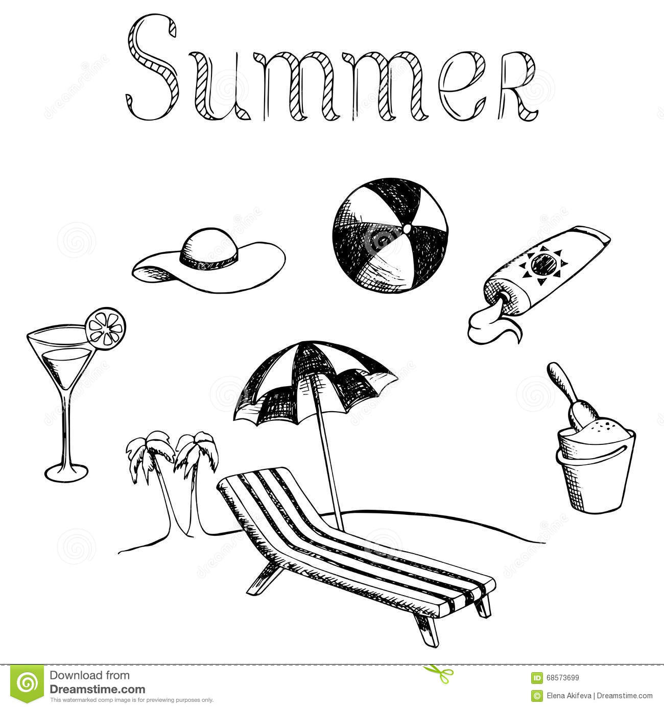 Summer Vacation Graphic Art Black White Isolated