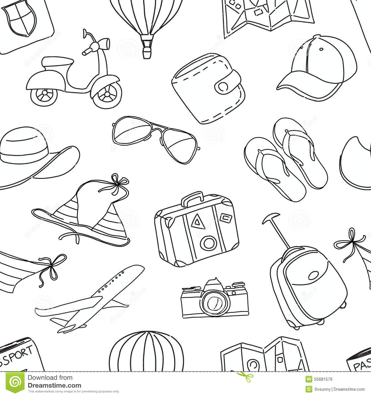Summer Vacation Sketch Doodle Seamless Pattern Black And