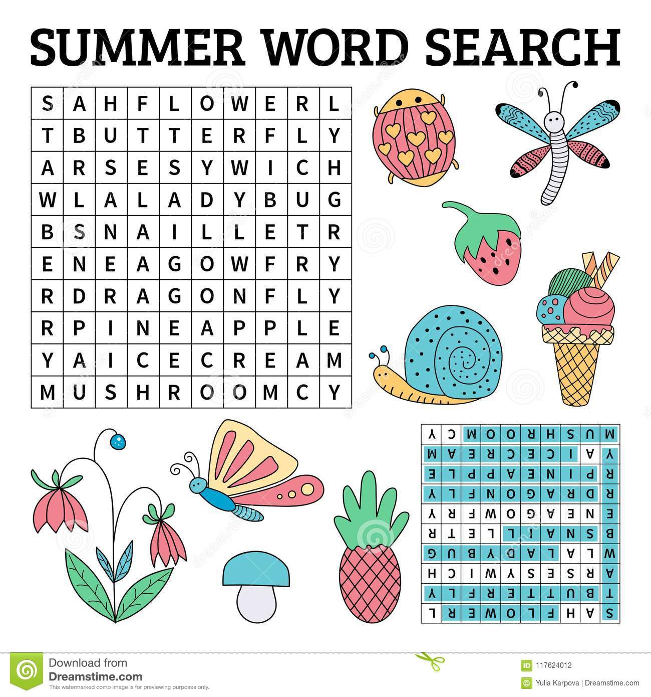 Summer Word Search Game For Kids In Vector Stock Vector