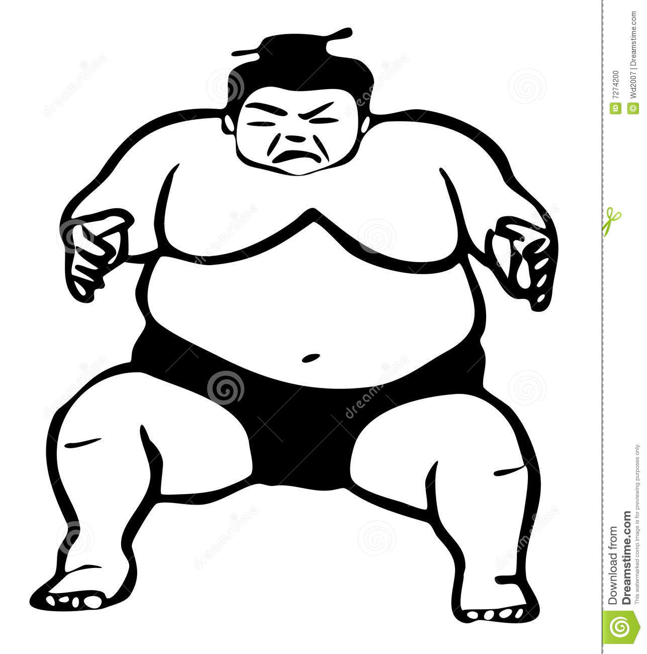 Sumo Wrestler Illustration Stock Illustration