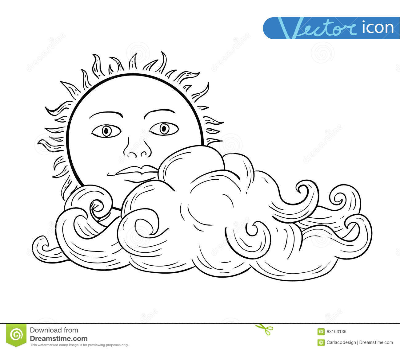 Sun With Clouds Doodle Hand Drawn Collection Stock Vector