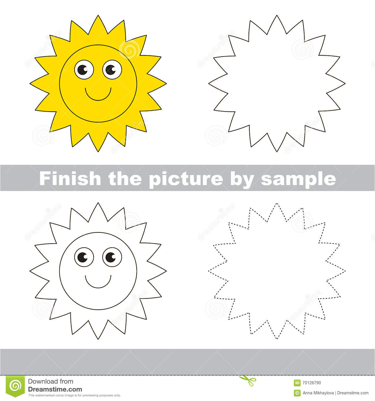 Sun Drawing Worksheet Stock Vector Illustration Of