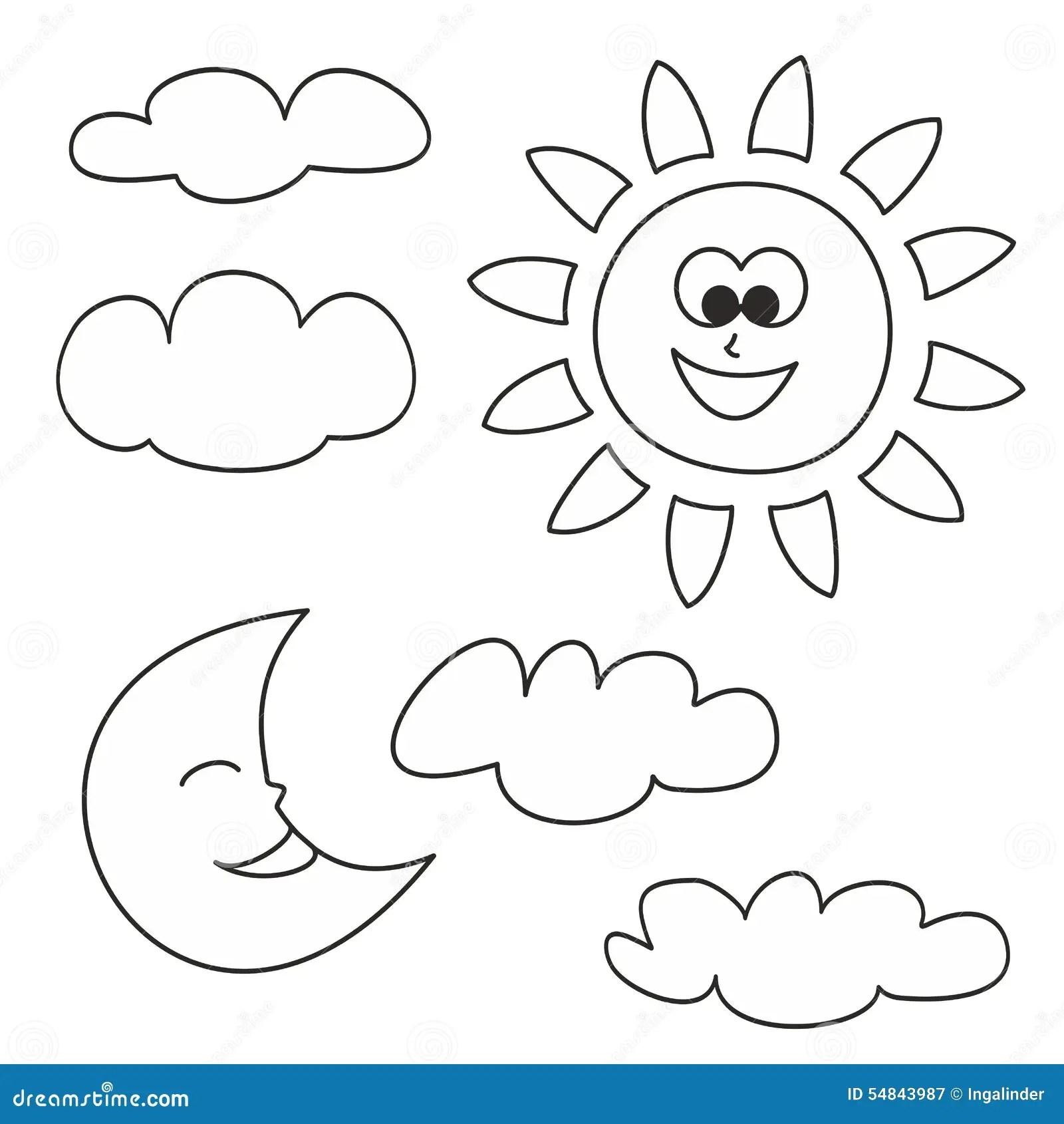 Sun A Lua E As Nuvens Vector Os Icones Isolados No Fundo Branco Ilustracao Do Vetor
