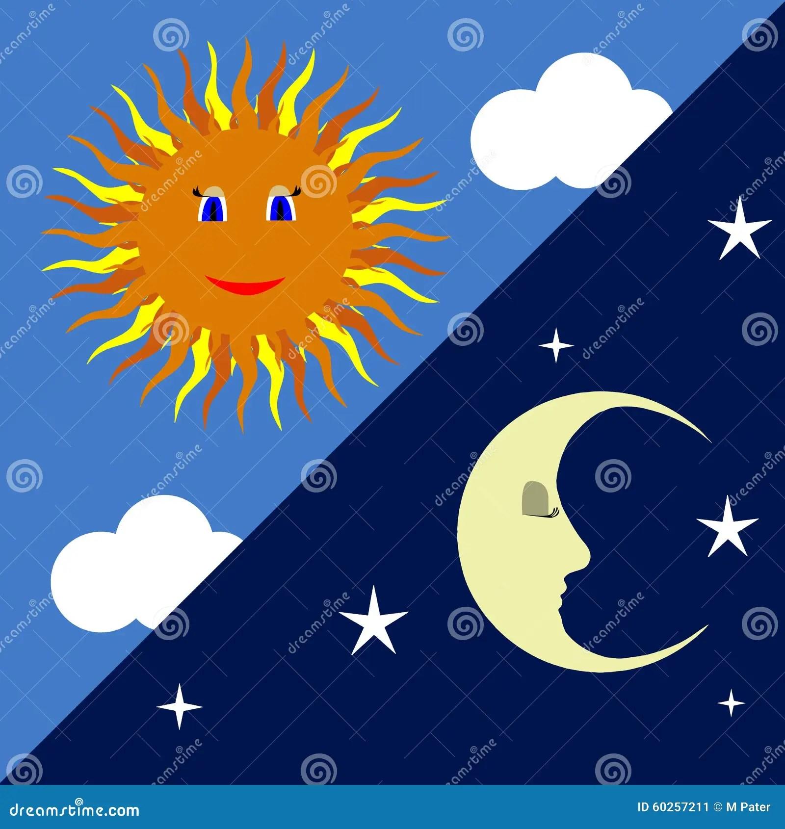 Sun And Moon Stock Illustration