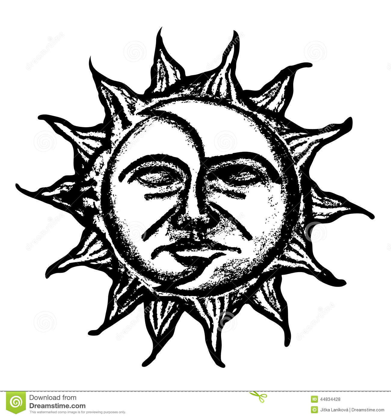 Sun And Moon Face Sketch Stock Illustration