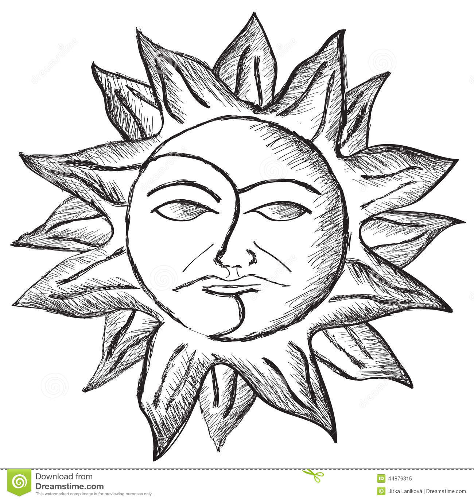 Sun And Moon Face Sketch Stock Illustration Illustration