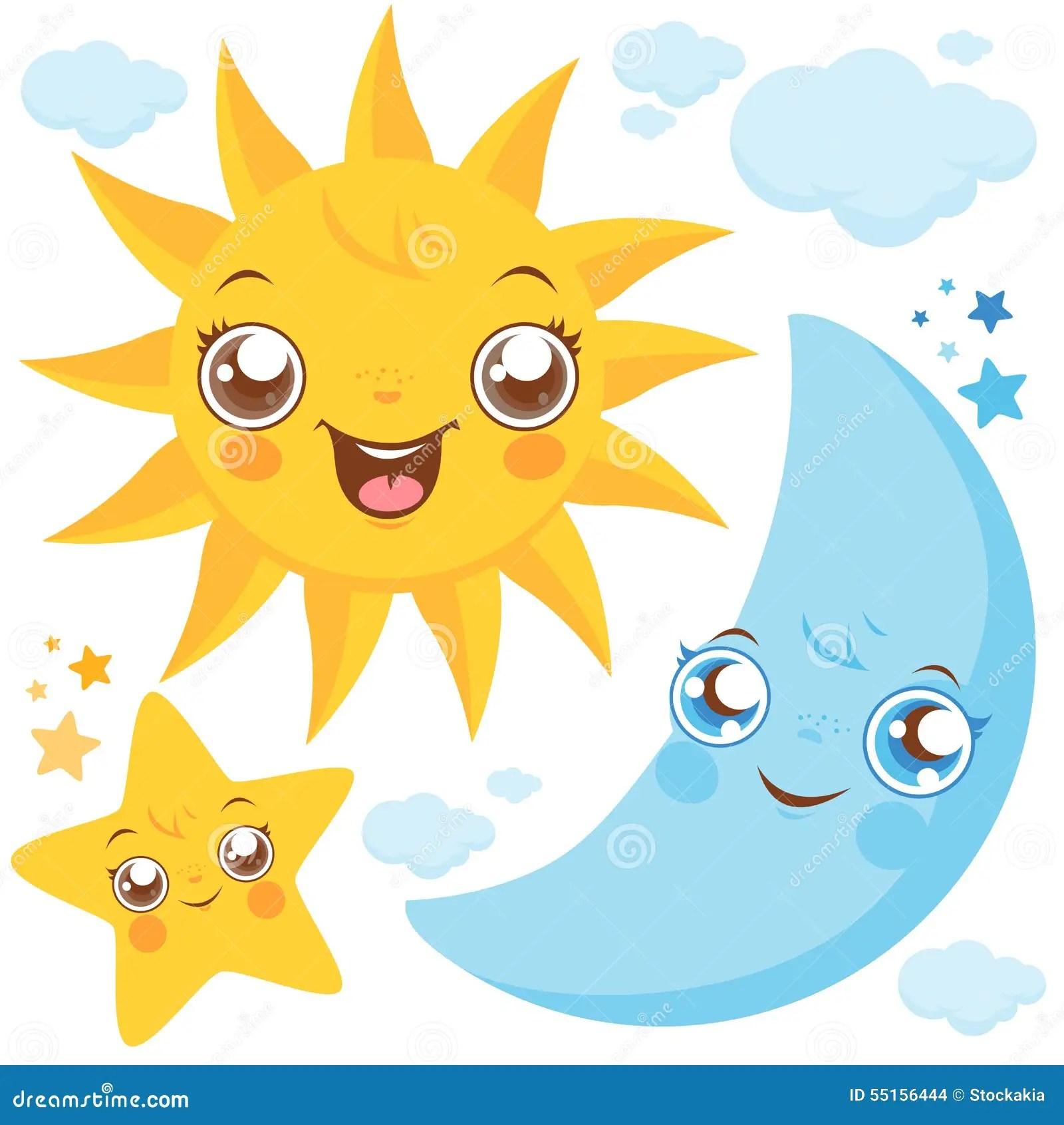 Sun Moon And Stars Stock Vector Illustration Of Night
