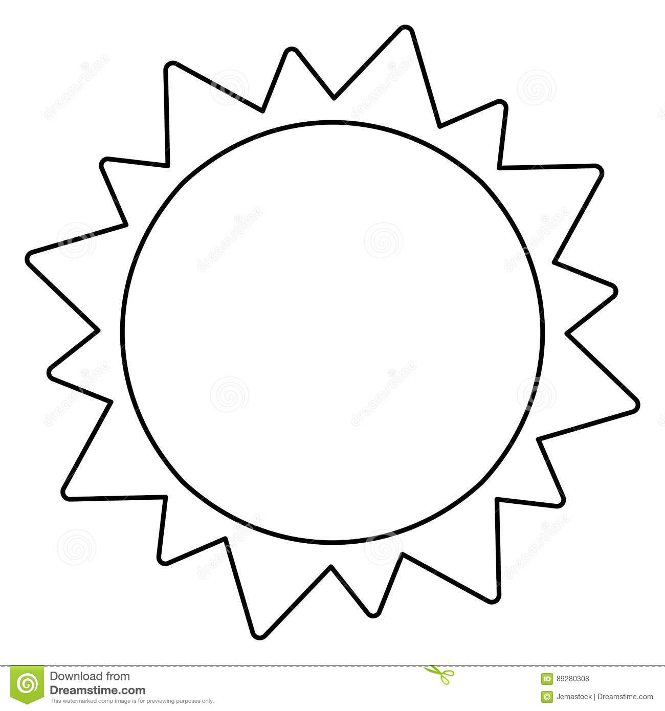 Sun Solar System Astronomy Outline Stock Illustration