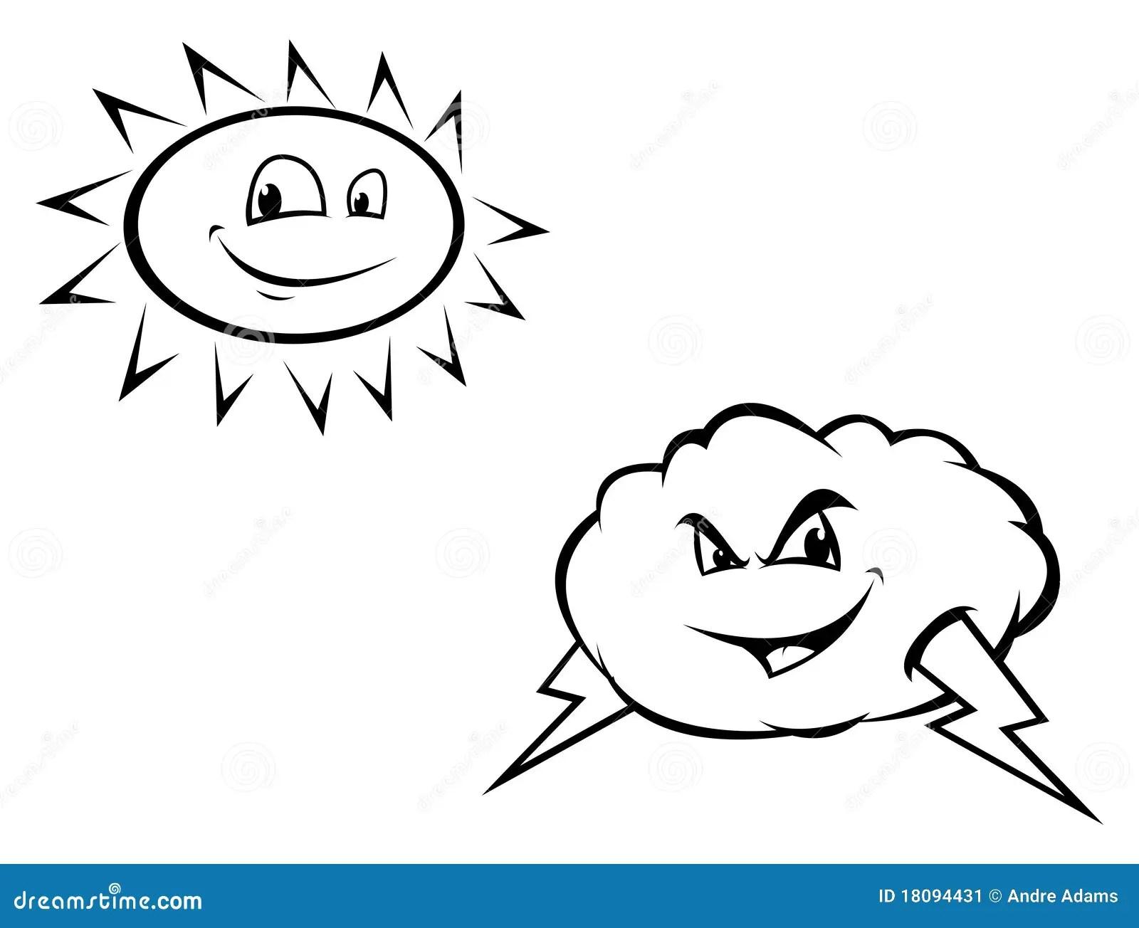 Sun Amp Storm Cloud Outline Stock Image