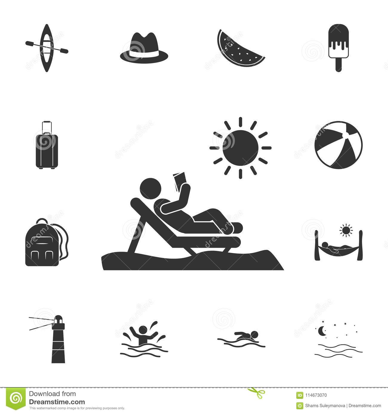 Man Sunbathing Vector Illustration