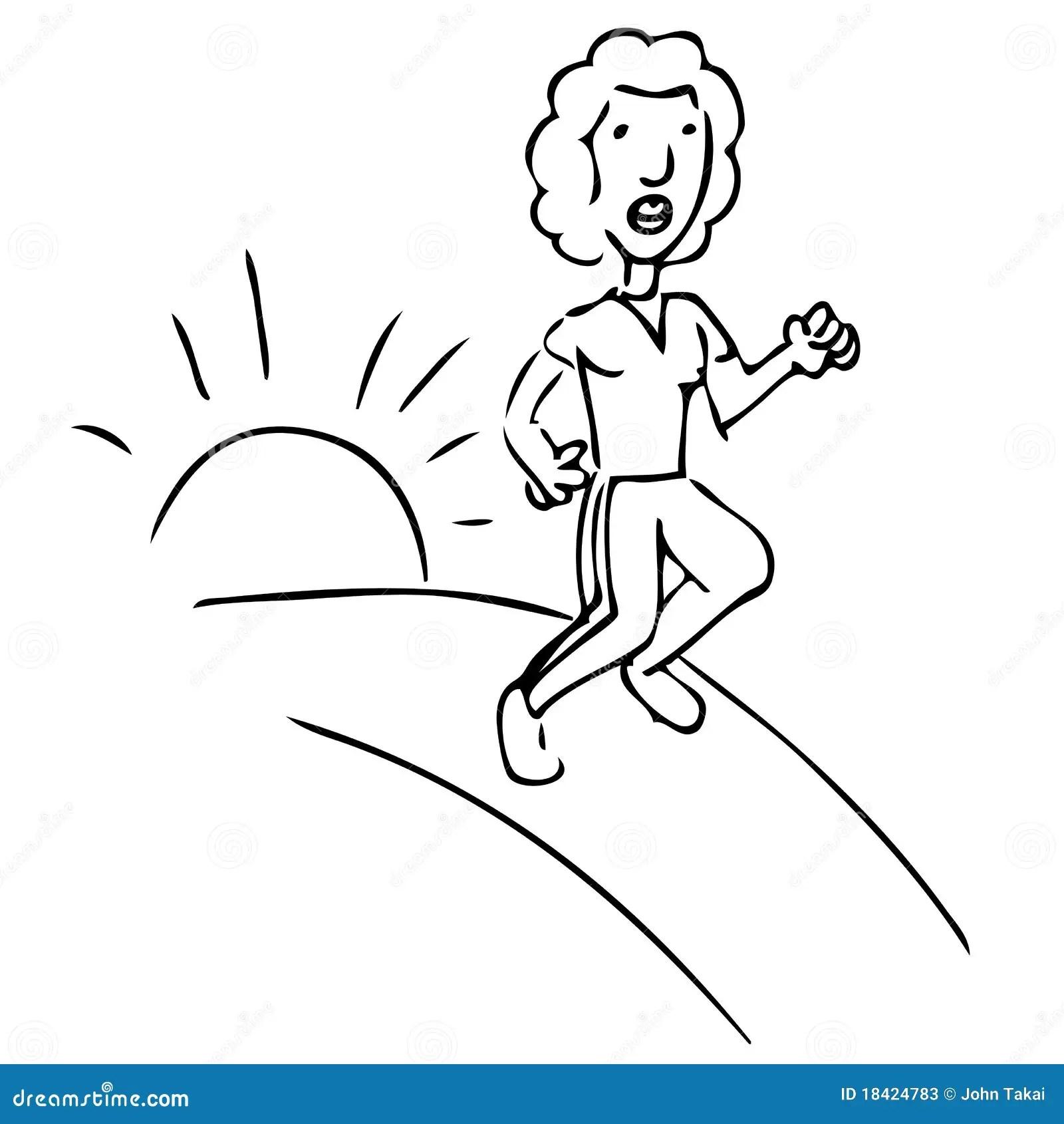 Sunrise Track Female Runner Stock Vector