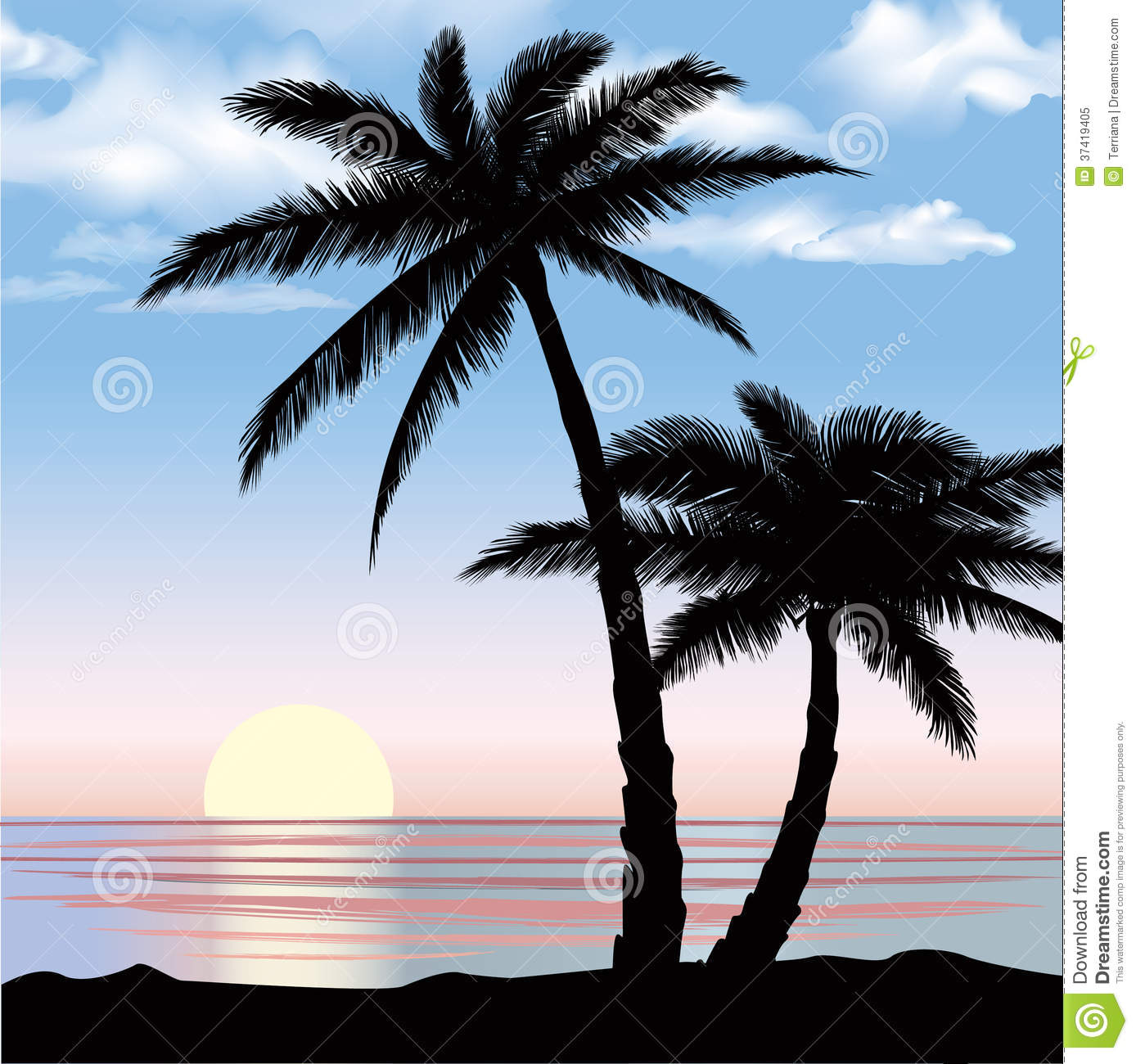 sunset view beach resort with palm trees wallpaper. royalty free