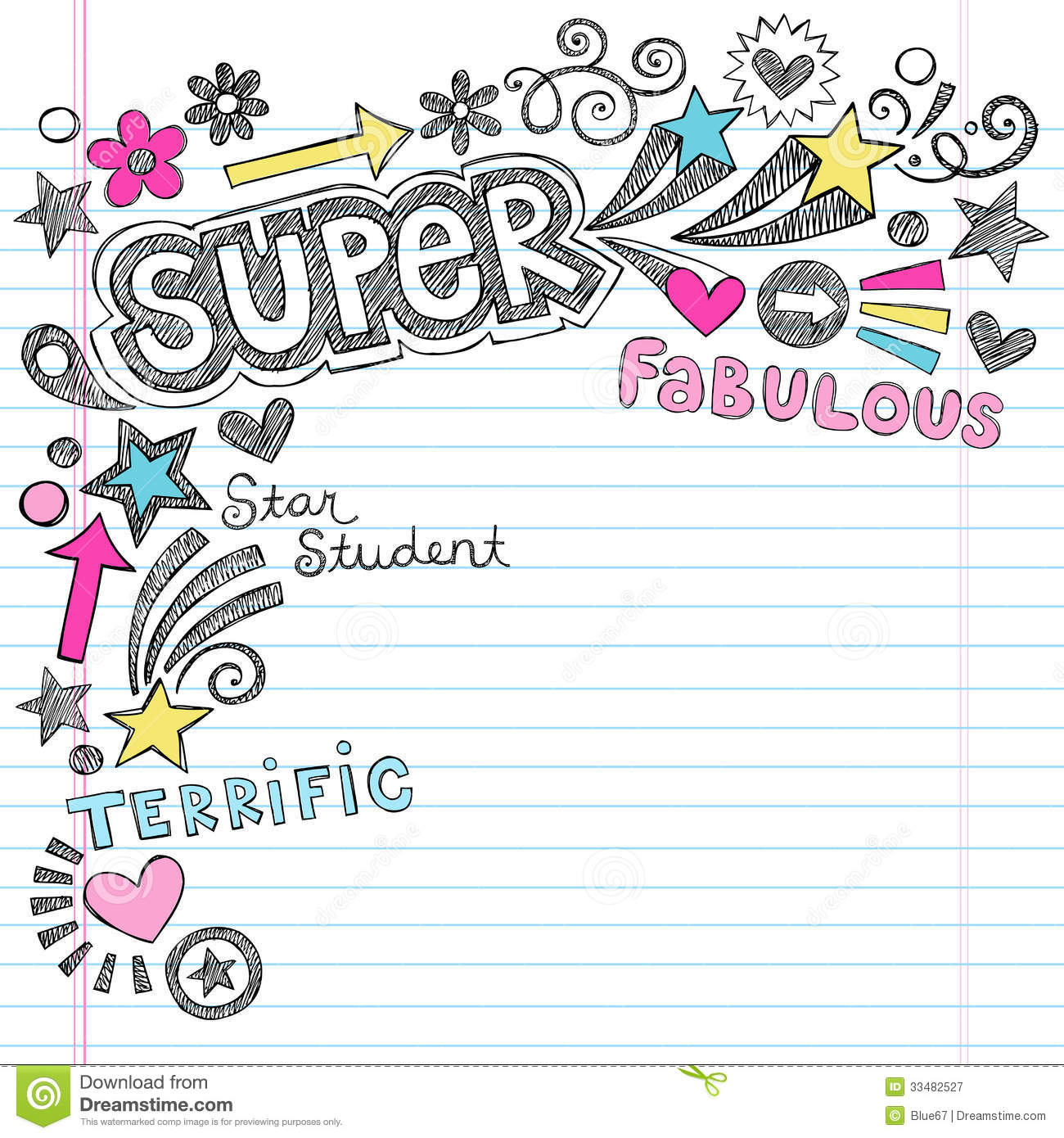 Super Student Praise Back To School Notebook Doodl Stock