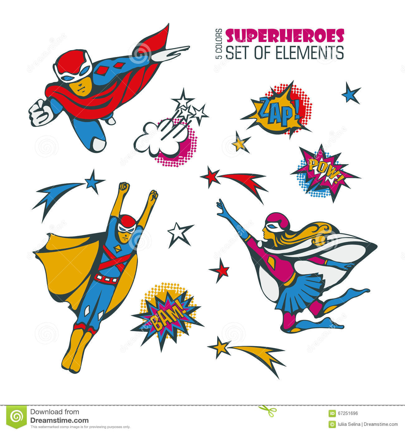 Superheroes In Comic Style 3 Stock Illustration Image
