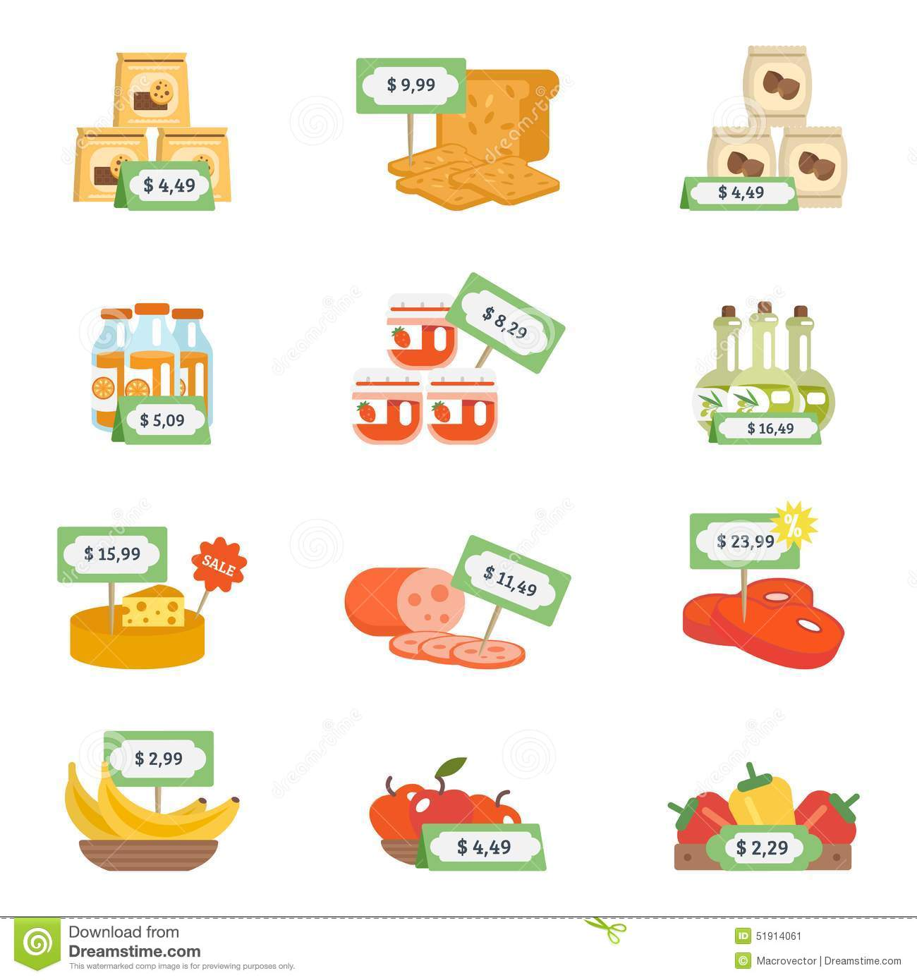 Supermarket Icons Set Stock Vector