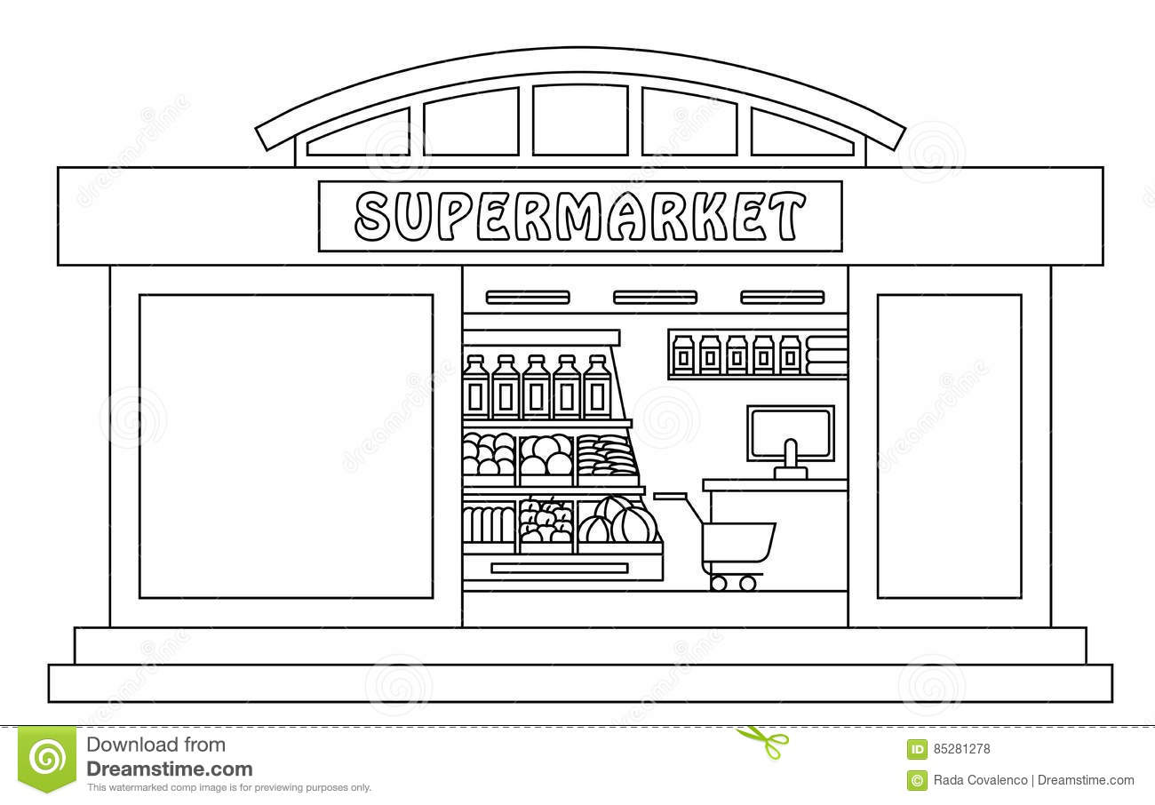 Shopping Mall Clipart Black And White