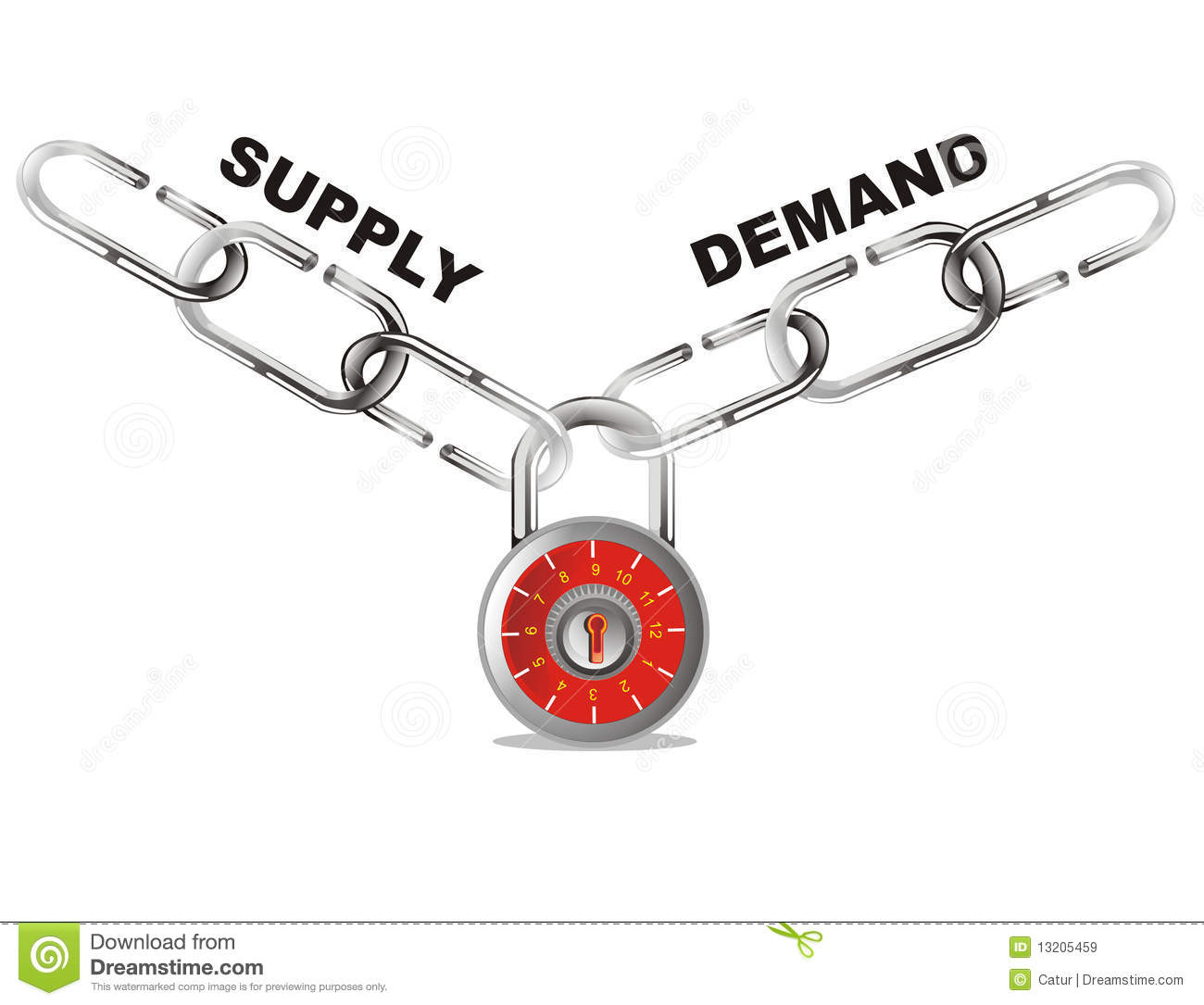 Supply And Demand Connect Chain Stock Vector
