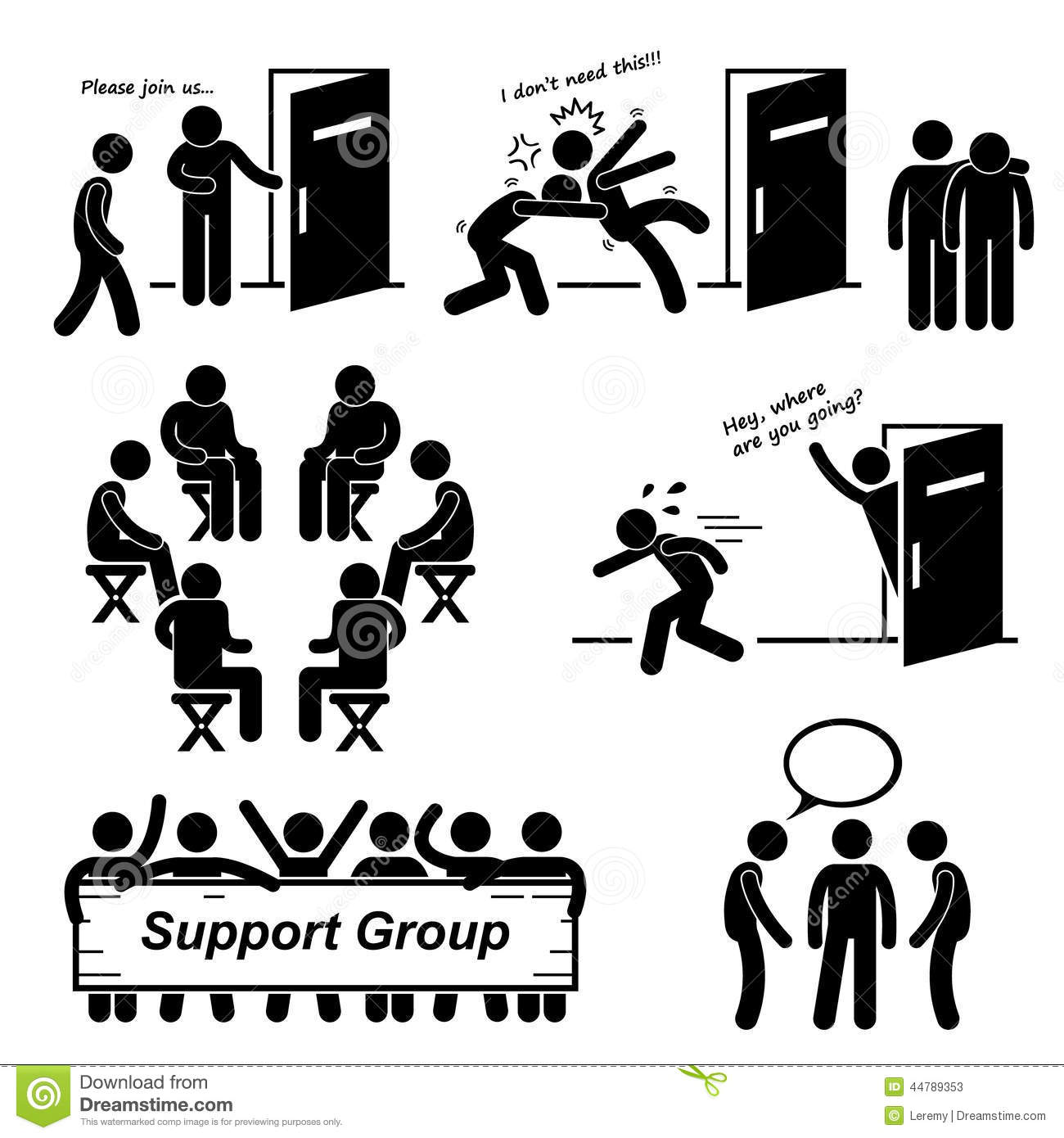 Support Group Meeting Cliparts Icons Stock Illustration