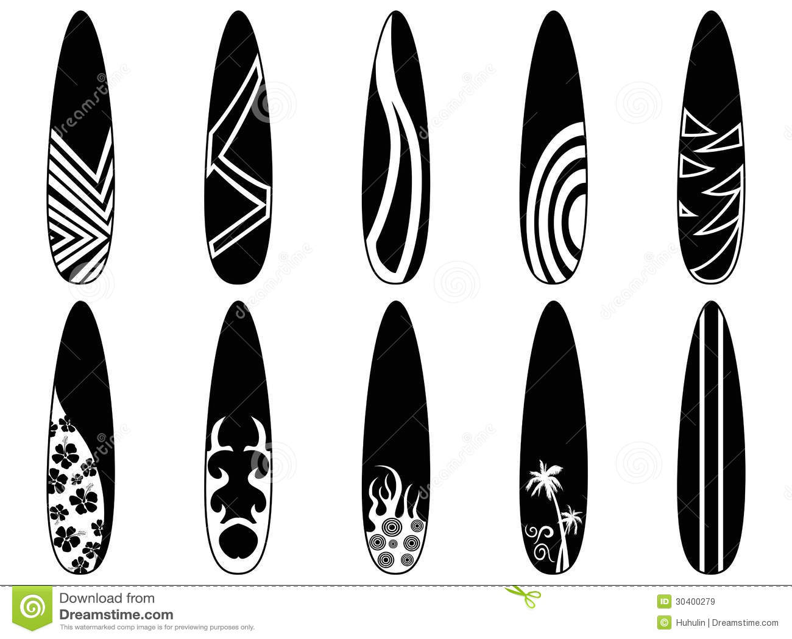 Surfboard Icons Stock Vector Illustration Of Black