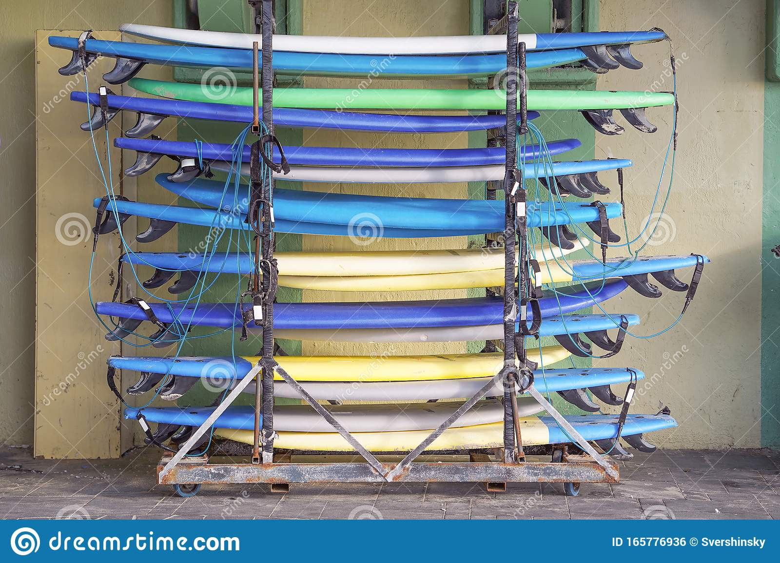 https www dreamstime com surfboards surf school equipment beach outdoor mobile stand windsurfing beginners professional rack image165776936