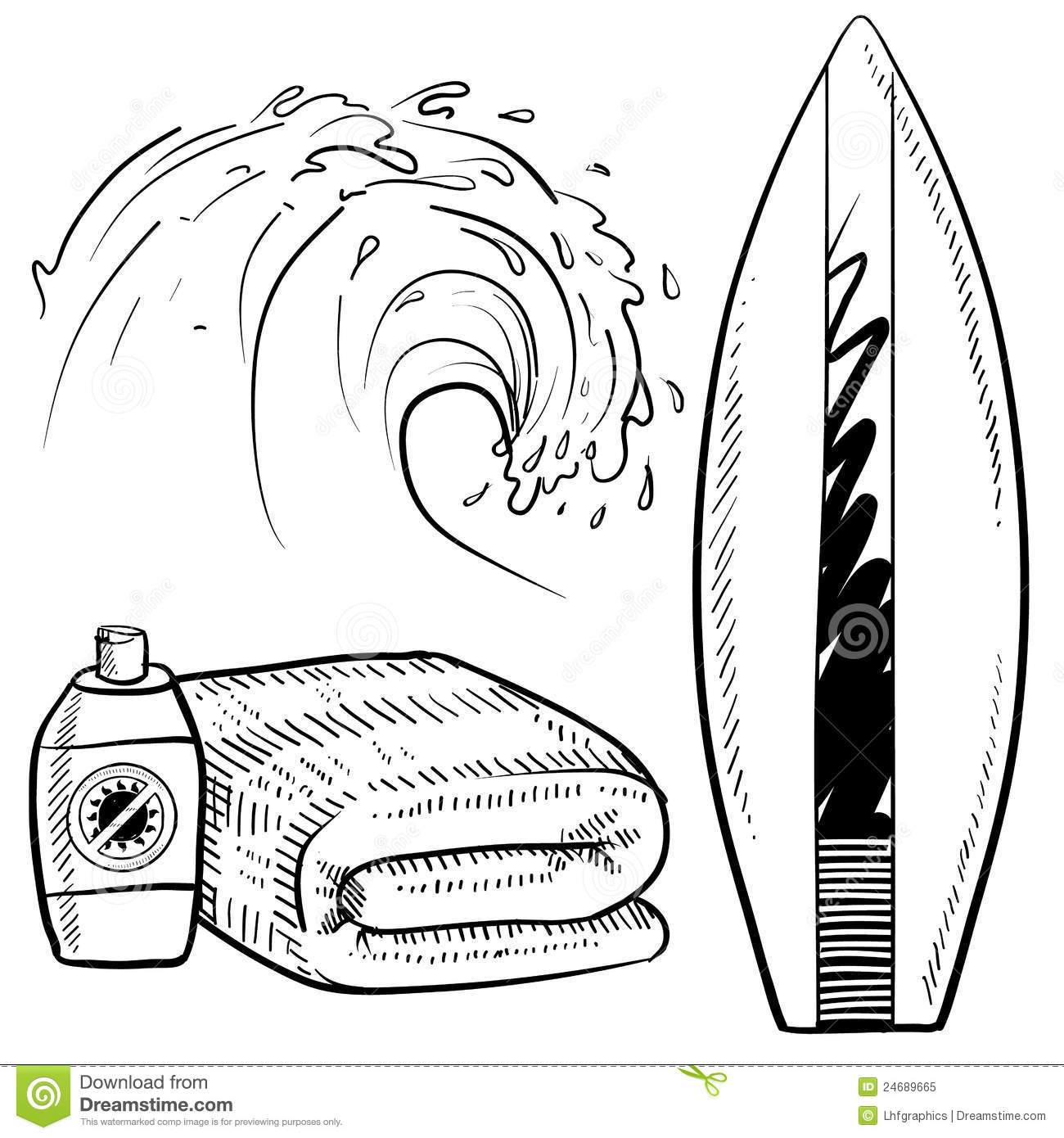 Surfing Equipment Sketch Stock Vector Illustration Of