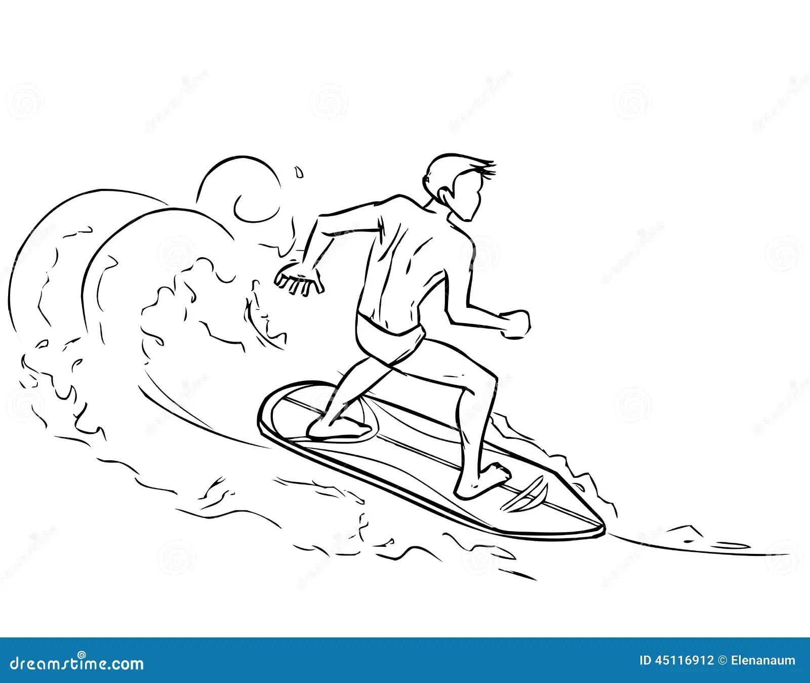 Surfing Man On Surfboard On Sea Waves Stock Vector