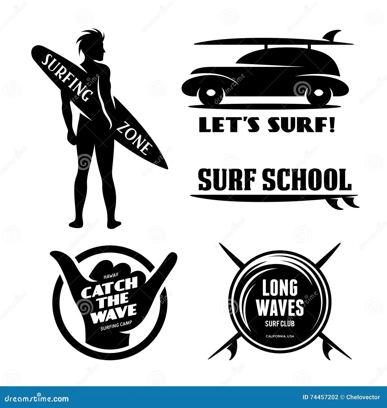 Surfing Related Labels Set Vector Vintage Illustration