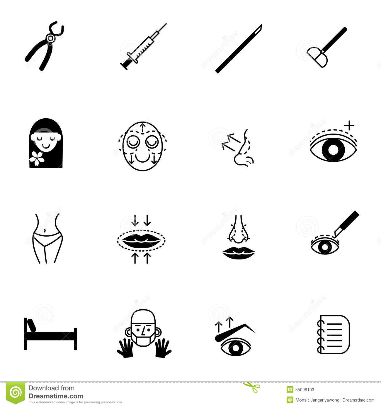 Surgery Icons Set Vector Illustration Stock Vector