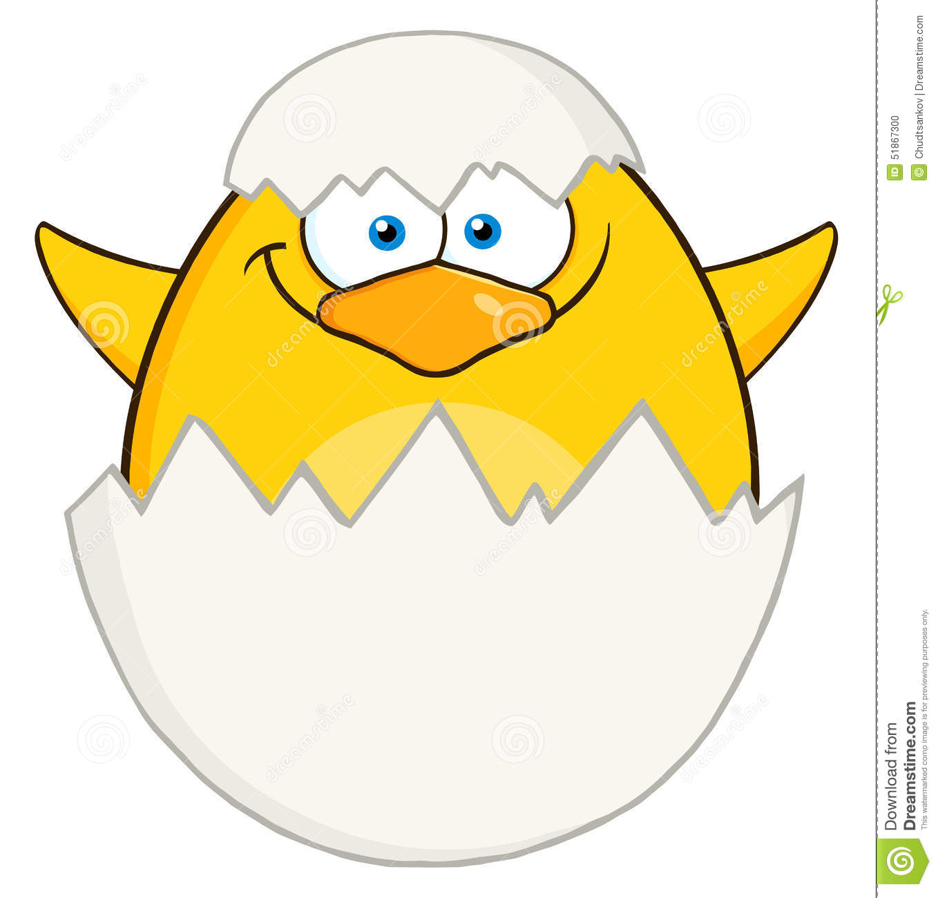Surprise Yellow Chick Cartoon Character Out Of An Egg
