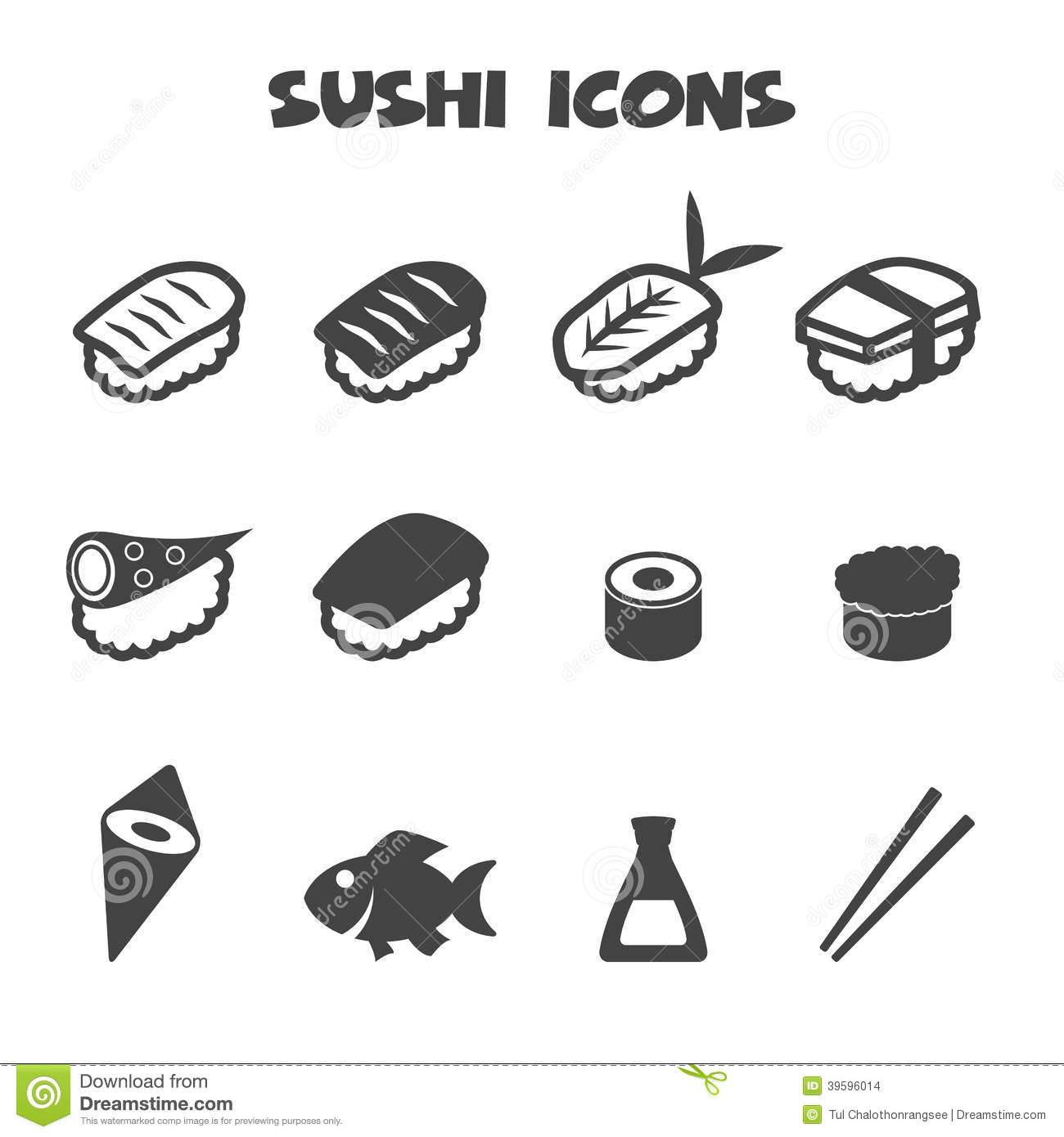 Sushi Icons Stock Vector