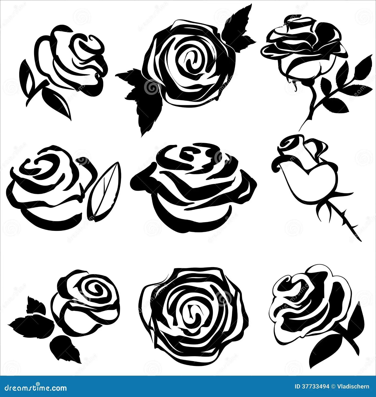 Svart Kontur Av Faststallda Symboler For Ros Vektor Illustrationer