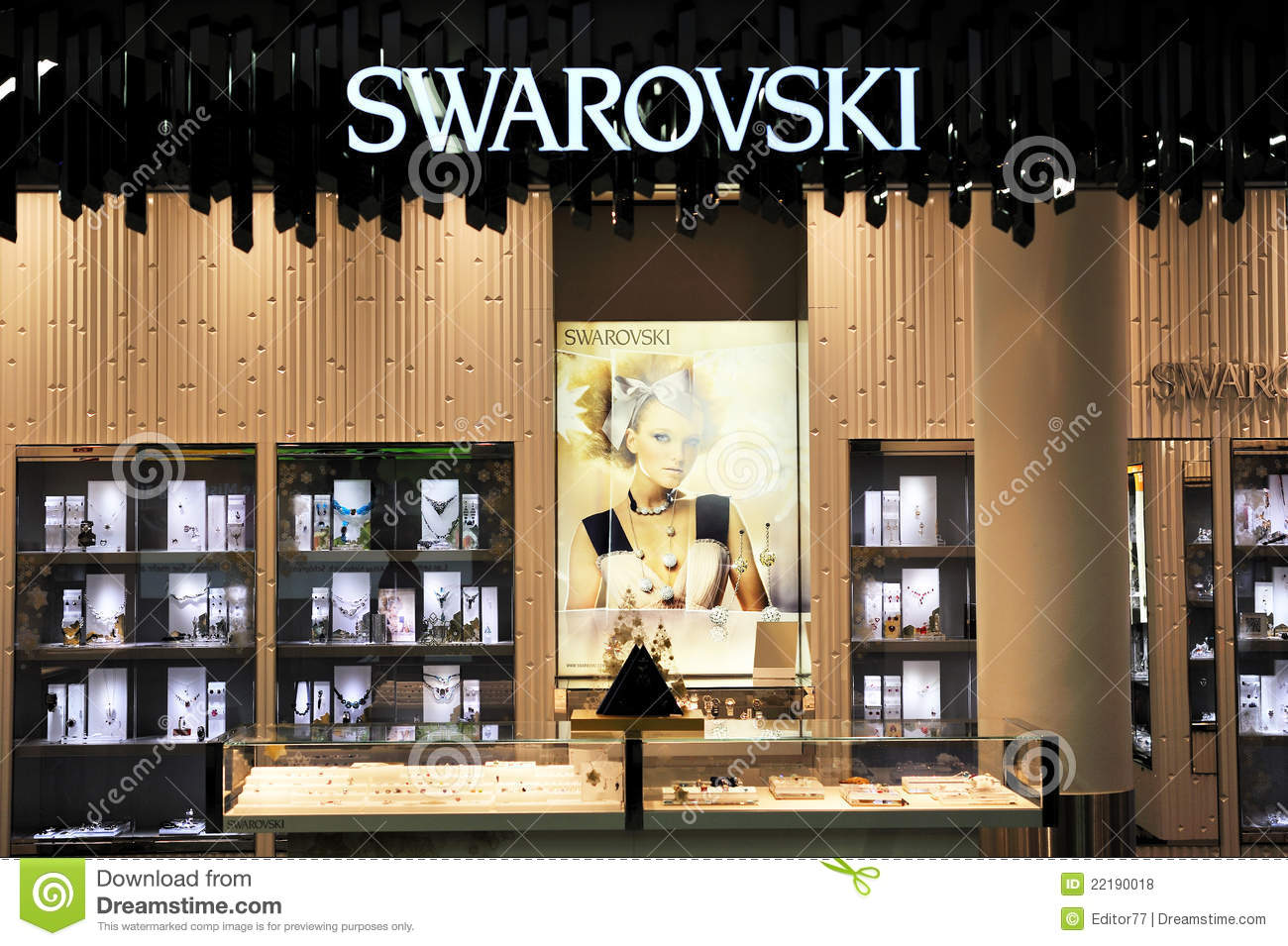 Swarovski Jewelry Store Illuminated Editorial Stock Photo