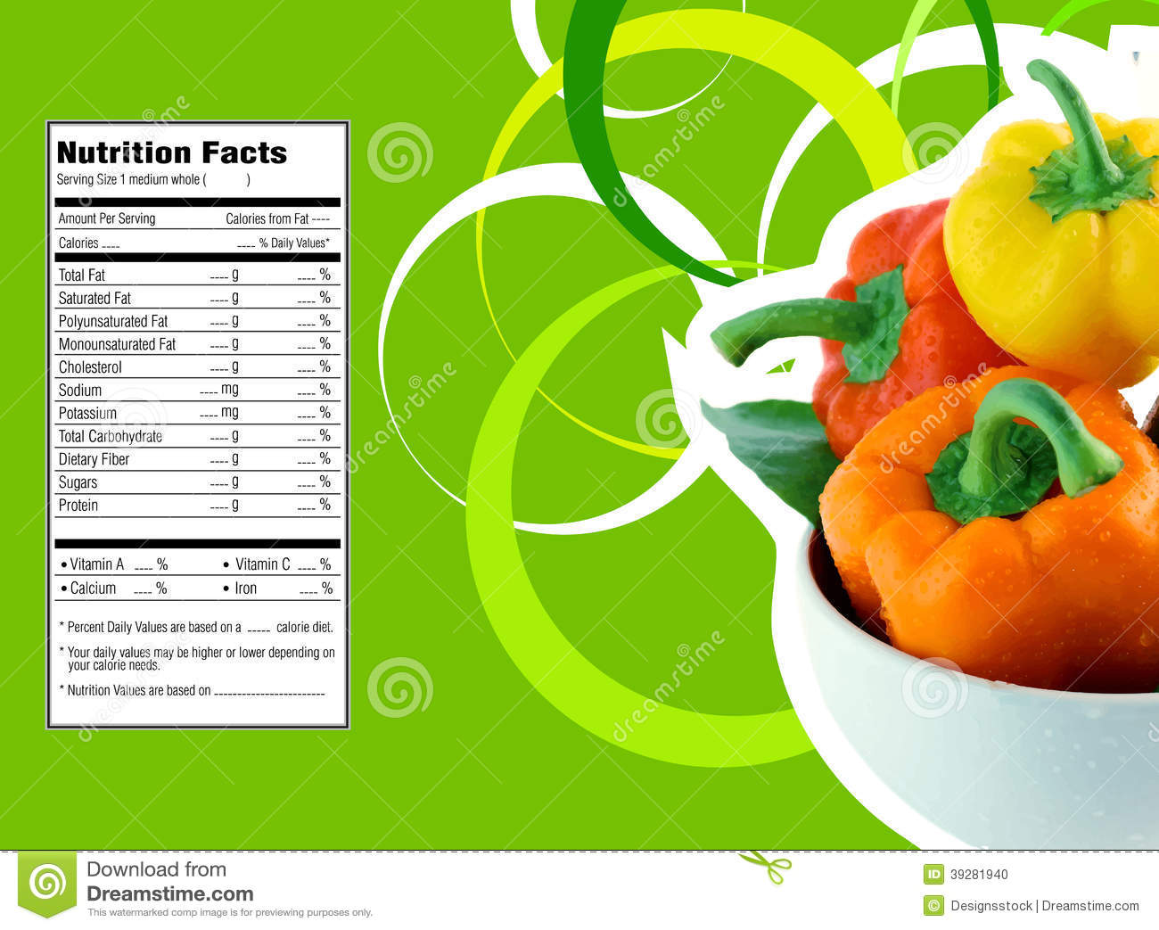 Sweet Bell Pepper Nutrition Facts Stock Vector