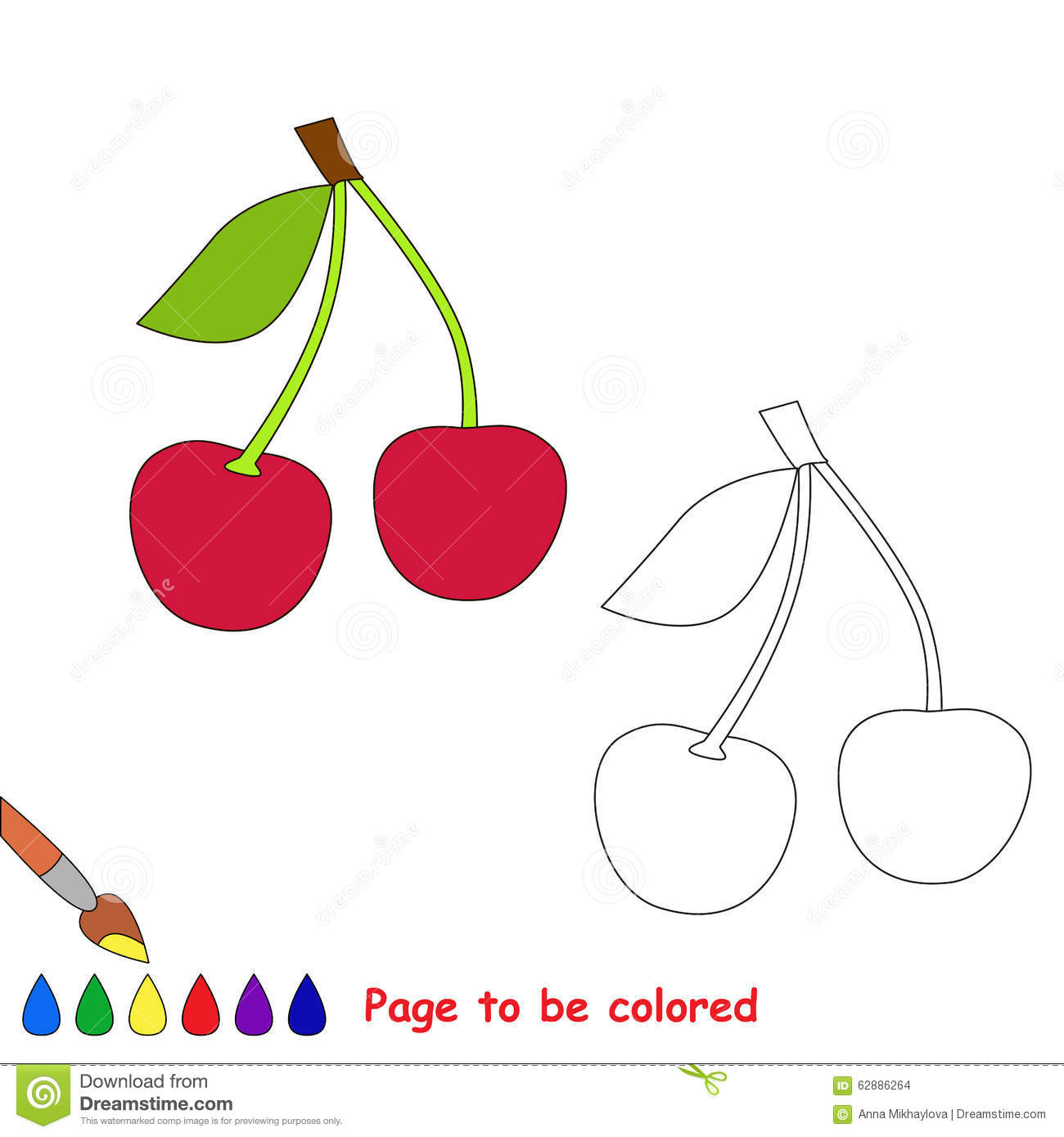 Sweet Cherry Vector Cartoon To Be Colored Stock Vector