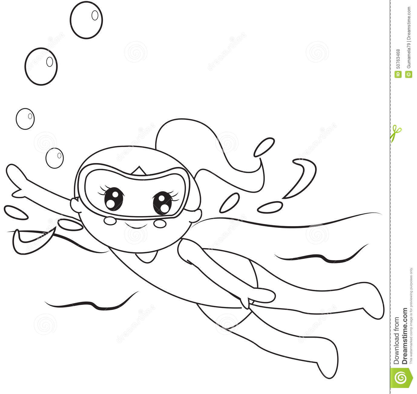Swimmer Coloring Page Stock Illustration