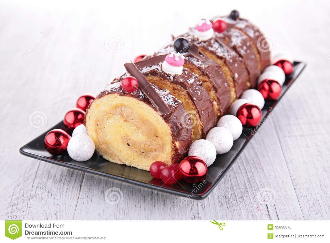 Swiss Roll Yule Log Stock Photo Image Of Dining Roll