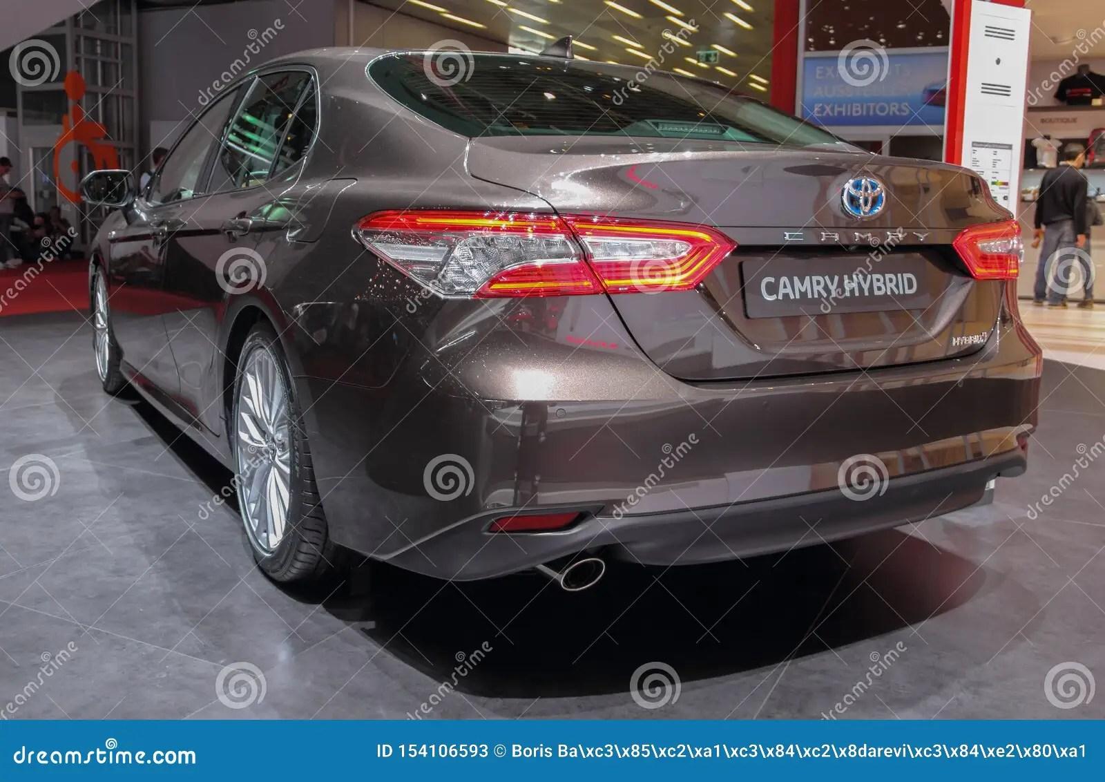 https www dreamstime com switzerland geneva march toyota camry hybrid rear view th international motor show to image154106593