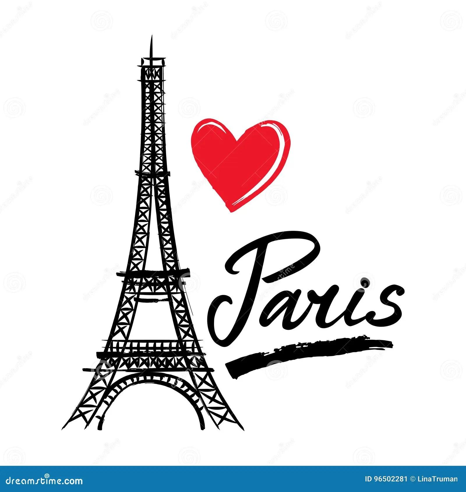 Symbol Frankreich Eiffel Turm Herz Und Wort Paris