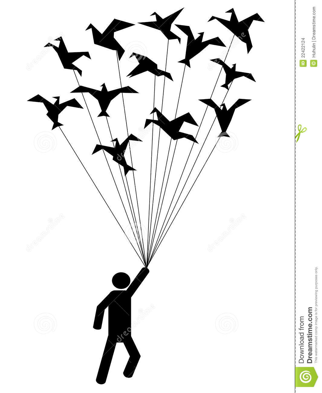 Symbol People Carried By Flying Paper Birds Stock Vector
