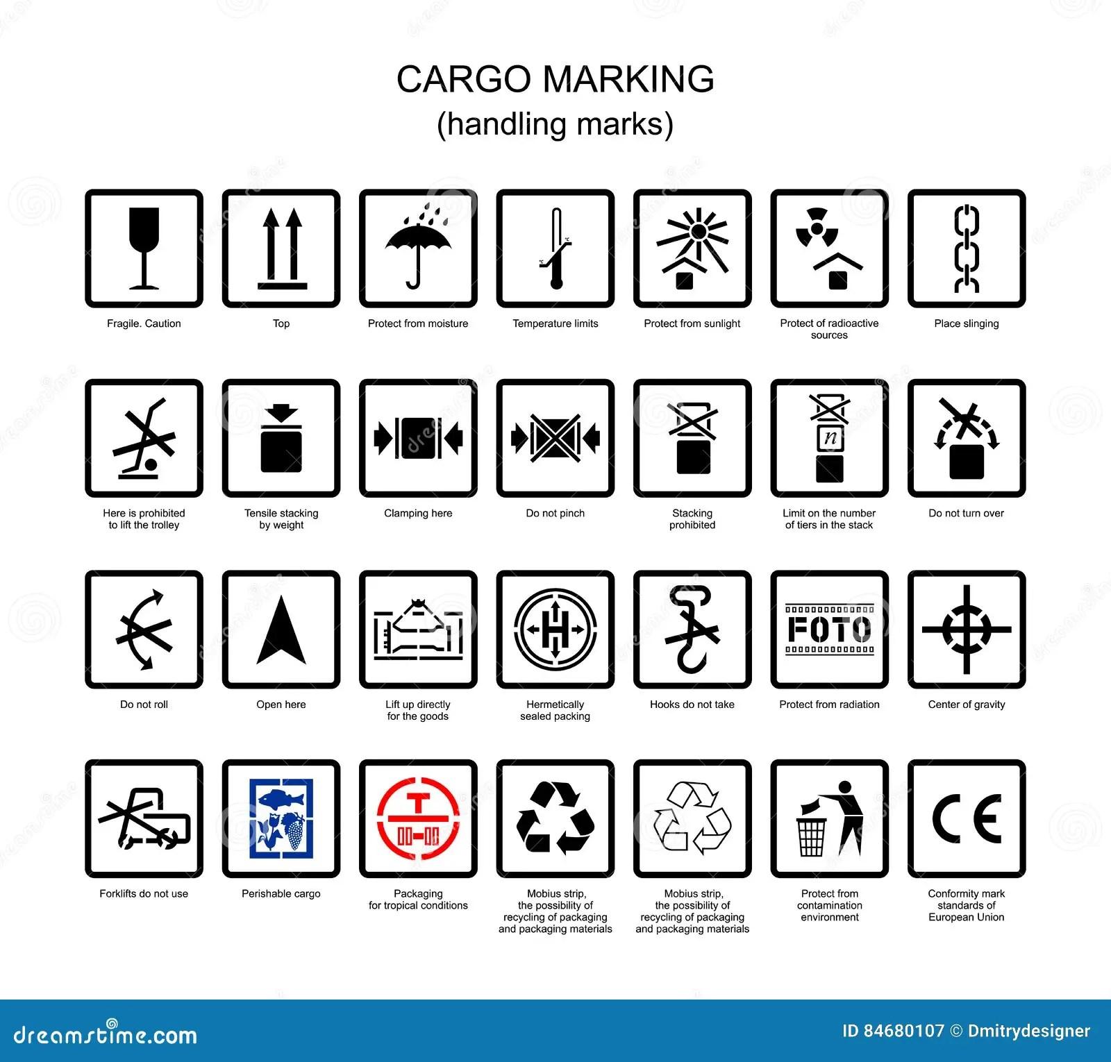Symboler For Lastmarkering Vektor Illustrationer