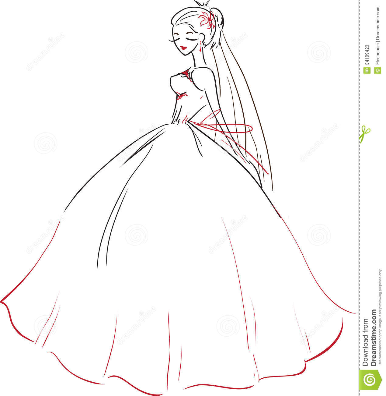 Symbolic Beautiful Bride In Wedding Dress Stock Vector