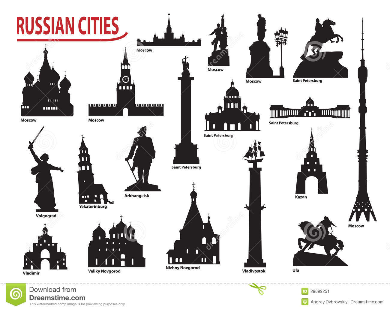 Symbols Of Russian Cities Stock Vector Illustration Of